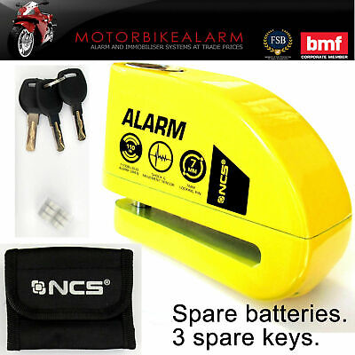JDC Motorcycle Motorbike Waterproof Heavy Duty Disc Lock ALARM /Ø10 Pin JAWS PRO Yellow
