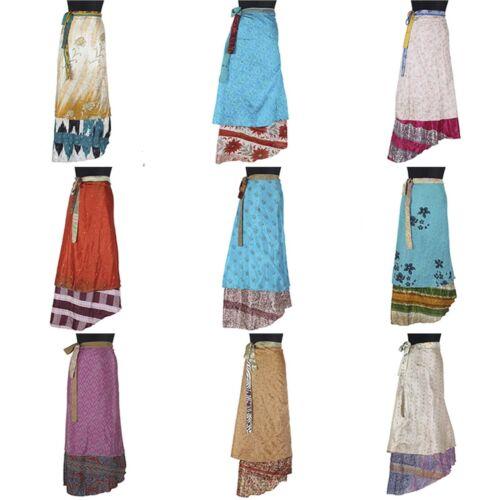 Wrap Vintage Lotto Magic pezzi 5 Mix Sari Wear Silk Beach Skirt Printed wOq1R0Inx7