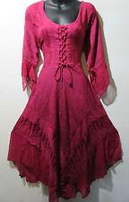 Dress Fits L XL 1X Renaissance Pink Corset Lace Up Chest Layered Lace Hem 603