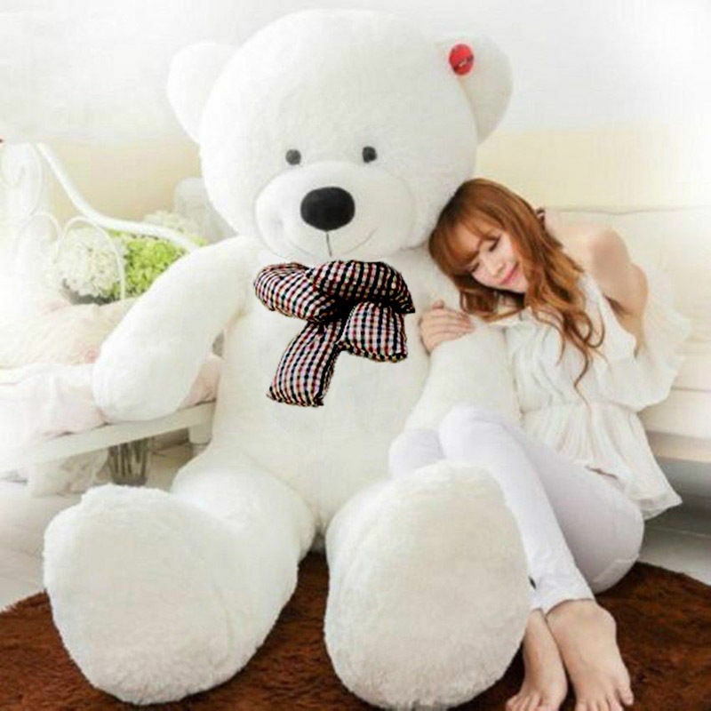 78'' Giant bianca Teddy Bear Stuffed Soft Plush Animal Birthday Doll Cushion Gift