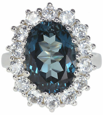 London Blue Topaz Gemstone Replica Diana Kate Engagement Sterling Silver Ring