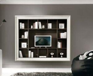 PARETE ATTREZZATA CON CORNICE + LIBRERIA E PORTA TV + | eBay