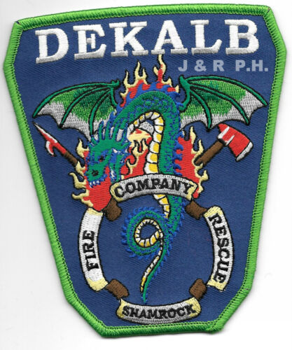 "Dekalb County Company-9 fire patch Georgia  /""Shamrock/"" 4.25/"" x 5/"" size"