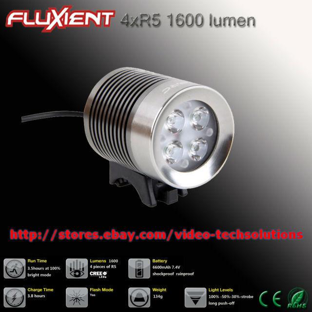 Fluxient 1600 lm 4XR5 DEL Rechargeable Casque ou bar vélo Vélo Lumière