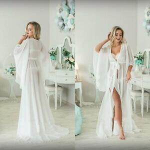 Women Chiffon Long Sleeve Night Robe Floor Length Sexy Bathrobe Sleepwear Custom Ebay