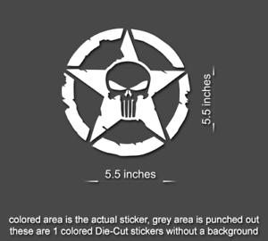 2 x Jeep Punisher STAR Decal stickers hood door fender TJ JK CJ YJ rubicon