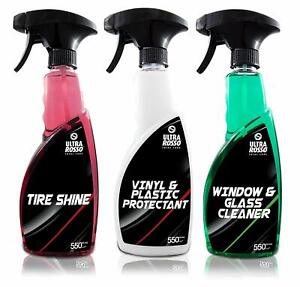 ULTRA ROSSO Car Care Kit XL 3pk Glass Cleaner, Vinyl Protectant and Tire Shine
