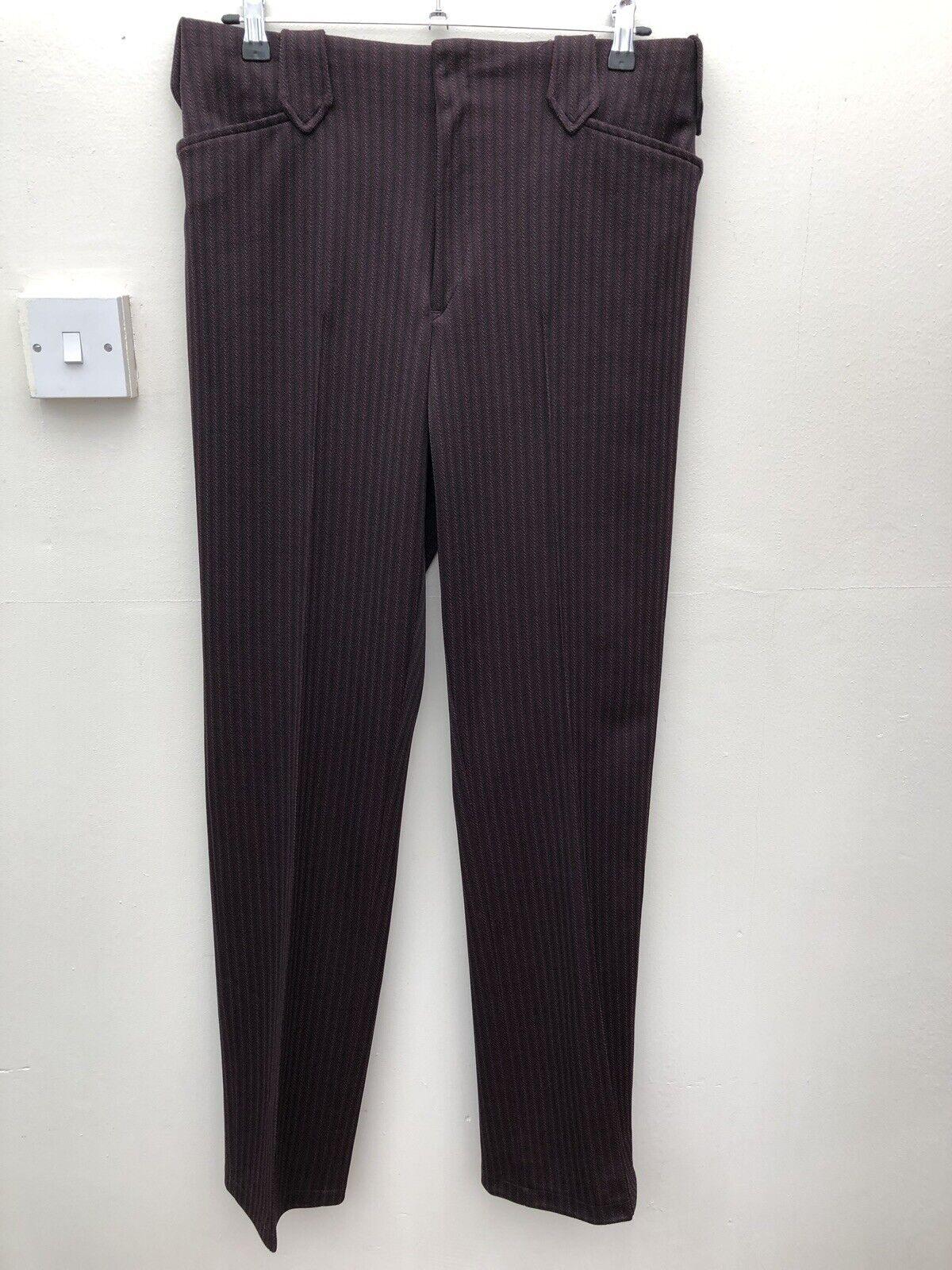 Panhandle Vintage W34 L34 Western High Waist Trousers  Brown Purple Stripe Retro