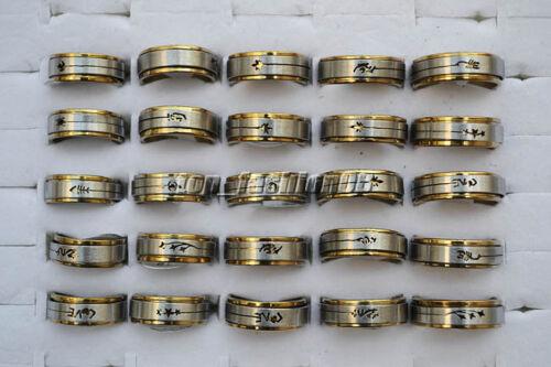 Wholesale 30pcs en Acier Inoxydable Découpé Mixte Motif 2 couches Spinner Band Ring