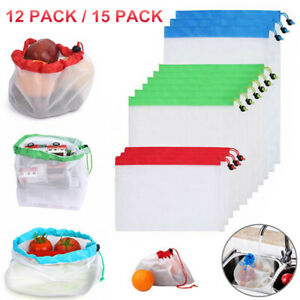15-Pack-Reusable-Produce-Bags-Black-ROPE-Mesh-Vegetable-Fruit-Toys-Storage-Pouch