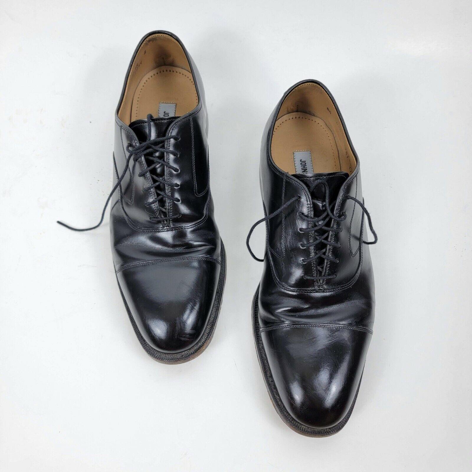 Johnston & Murphy mens melon cap toe oxford shoes lace up leather black sz 8.5 D