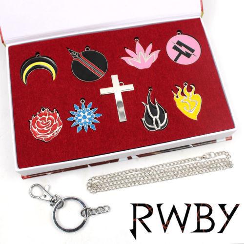 Anime RWBY JNPR Necklace+Keychain+Box Pendant Cosplay 9pcs Collection Gift Set #