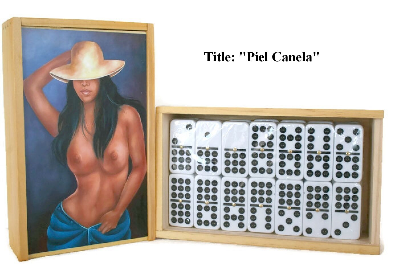 Father's Day Gift  Domino Set Double Nine  Piel Canela  Oil painting on Top.