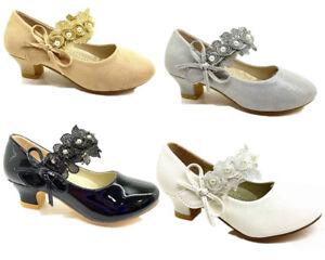8ec6d8c10488 Girls kids childrens low heel party wedding mary jane sandals court ...