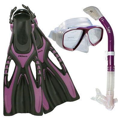 NEW Lady Dive Snorkeling Mask Dry Snorkel Fins Gear Set