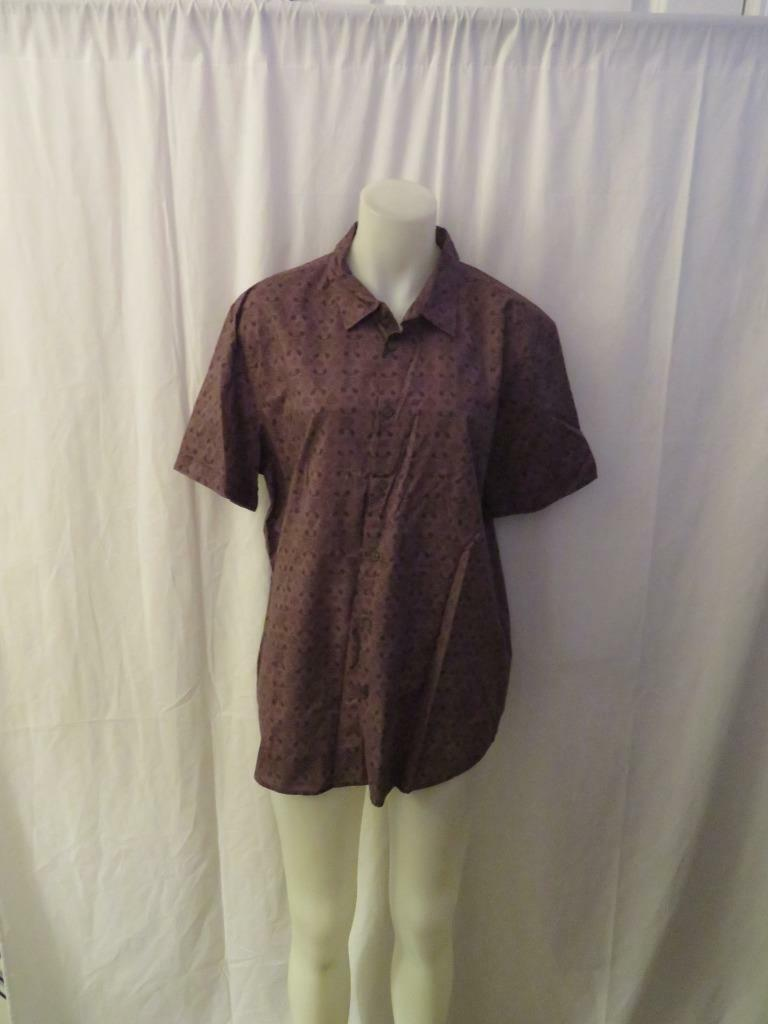 MENS JOHN VAVARTOS PLUM FLORAL PRINT SHORT SLEEVE BUTTON DOWN SHIRT L