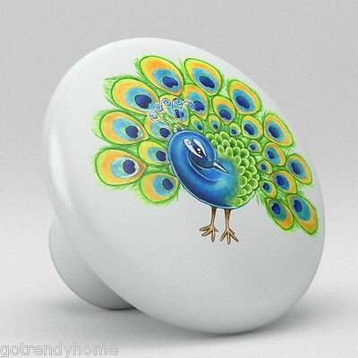 Cute Peacock Ceramic Knobs Pulls Kitchen Drawer Cabinet Vanity Closet 370 Pantry