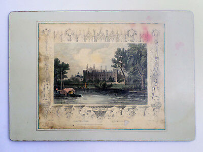 """Tray W/engraving Print Eton College windsor Uk 10x14"""" 25x35cm ? Collection Here Antique C1834"""