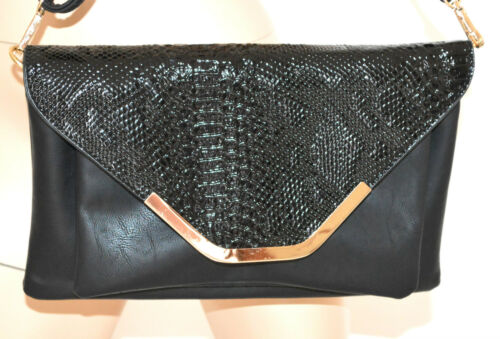 Gloss en Noir 1020 Pochette Leather Leather Reptile Femme Sac Sac Eco Sac Paint Sac Cuir Hq4xIv