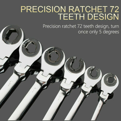 Ratcheting Tubing Wrench Set Metric Flex Head 72-Tooth Hand Car Repair Tools