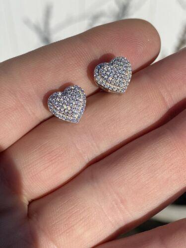 Solid 925 Sterling Silver Iced Heart Stud Earrings Men/'s Ladies Hip Hop 10mm