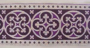 3-034-Wide-Jacquard-Trim-Traditional-Silver-amp-Purple-Chausible-Vestment-Sewing