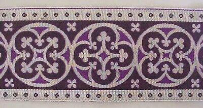 "3½""  Wide Jacquard Trim Traditional Silver & Purple Chausible Vestment Sewing"