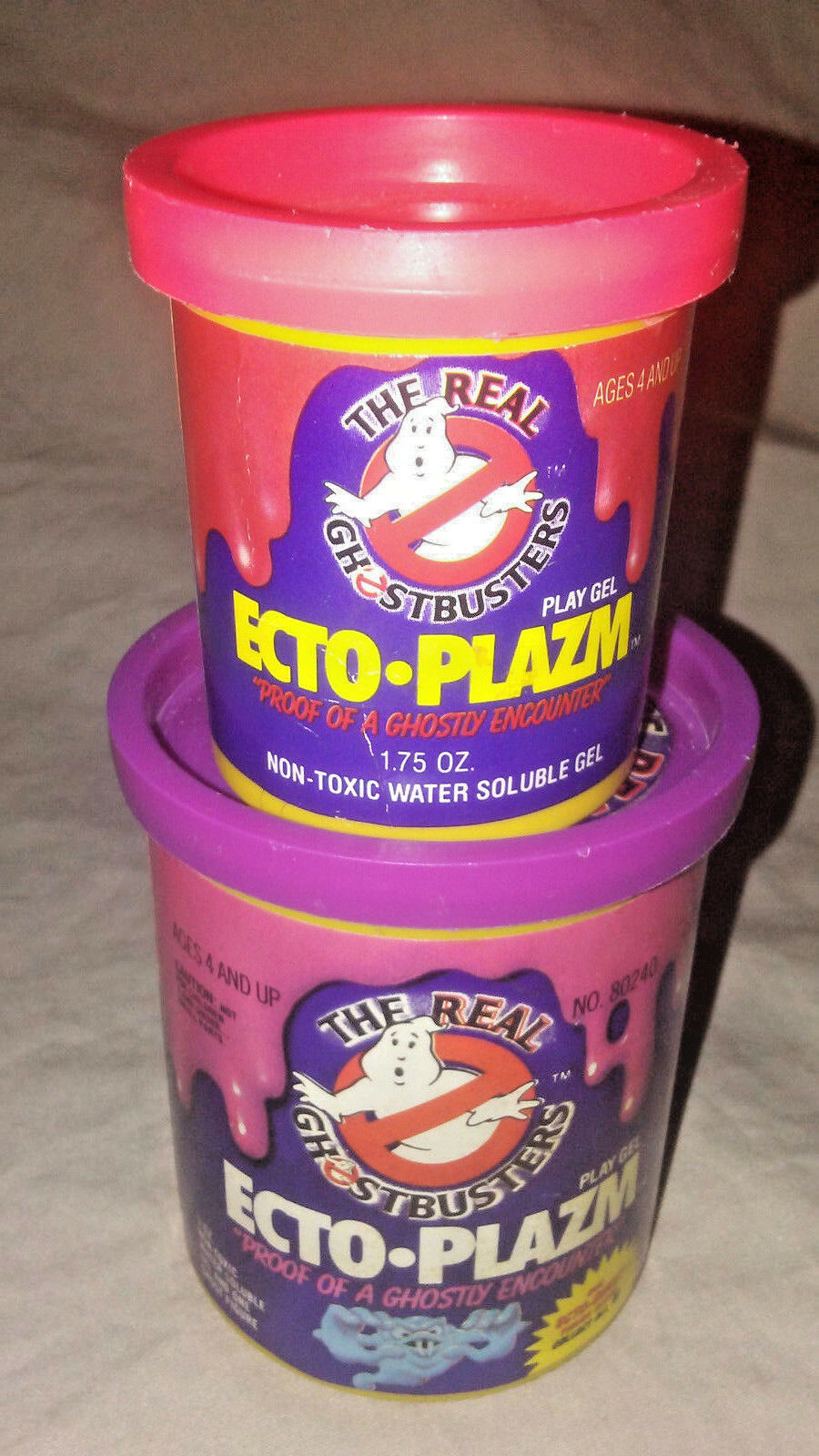 1984 Kenner Real Ghostbusters Ecto Plazm Ectoplasm Play Gel Bundle -Two Cans