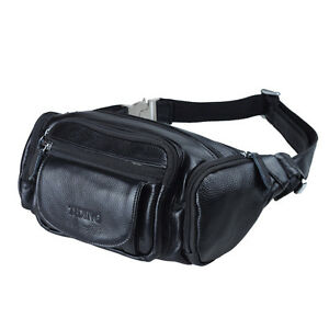 6c0103b20d0e Black Leather Men's Small Bum Waist Bag Fanny Pack Belt Bag Travel ...