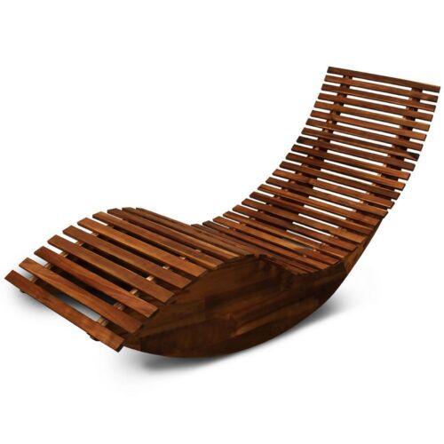 Wooden Sun Lounger Outdoor Garden Swing Relaxer Bed Ergonomic Rocking Deck Chair