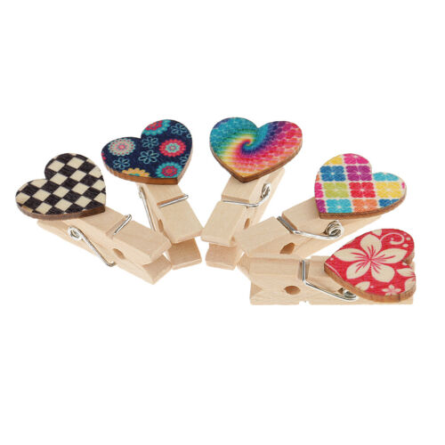 50pcs Heart Shaped Wooden Mini Clips Wood Pegs Kid Crafts Party Favor Supply