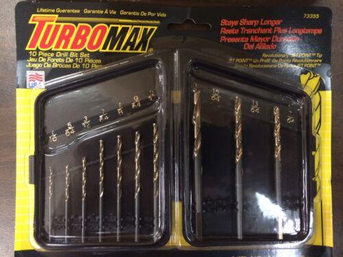 """TurboMax 10 pc Drill Bit Set 73355-1//16/""""-1//4/"""" New"""