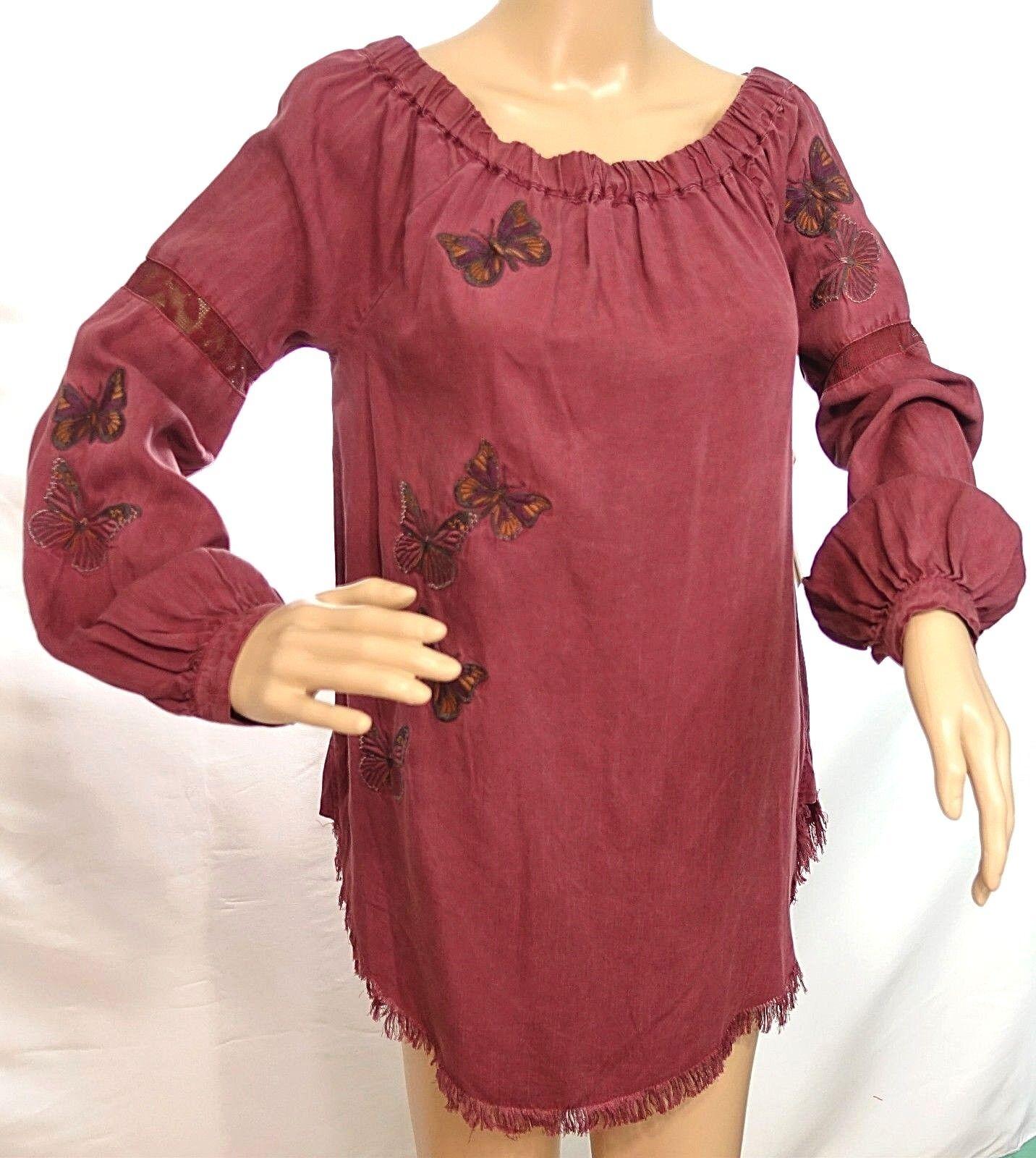 Standard Grace Women Reg Size S Burgundy Butterfly Tunic Top Blouse Shirt Fringe