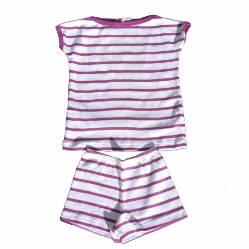 PETIT BATEAU Schlafanzug Pyjacourt Pyjama gestreift lila weiß Gr 2a 86  NEU