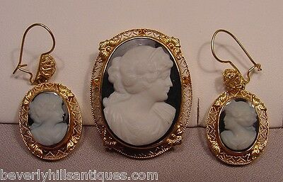 Rare Antique Hard Stone Victorian 14k Cameo Pendant Brooch Earrings Set
