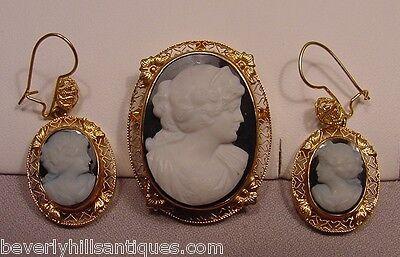 Rare Antique Hard Stone Victorian 14k Cameo Pendant Brooch Earrings Set