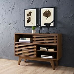 Mid-Century-Modern-Walnut-Wood-Two-Shelf-Display-Stand-Server-Console