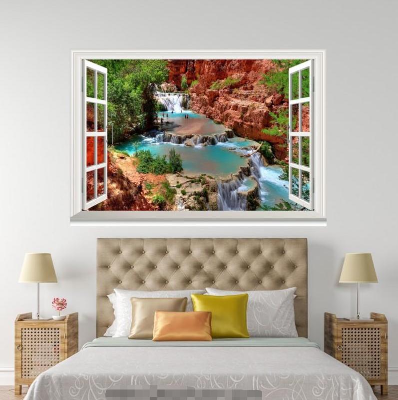 3D Stream River View 0155 Open Windows WallPaper Murals Wall Print AJ Jenny