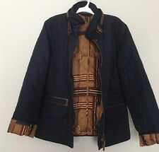 Ralph Lauren Womens Equestrian Quilted Jacket Coat Size L Navy Blue