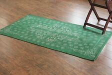 Taluche Hand-woven and Handmade Green Hand Printed Area Rug FREE Delivery NEW