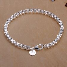 20 cm Long Silver Plated Square Cushion Links Toggle Bracelet