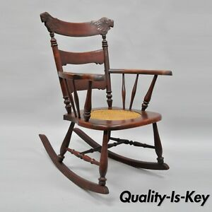Brilliant Details About Antique Carved Mahogany Eagle Rocking Chair Rocker Victorian Figural Cane Seat Interior Design Ideas Clesiryabchikinfo