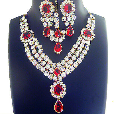 Indian Fashion Jewelry Ethnic Bollywood Necklace Gold Bridal Traditional Set S34