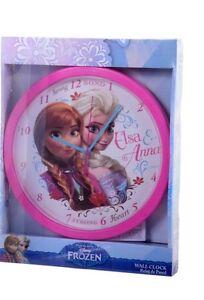 "OFFICIAL NEW 10"" DISNEY FROZEN ELSA ANNA PINK CHILDRENS CLOCK BEDROOM CLOCK"