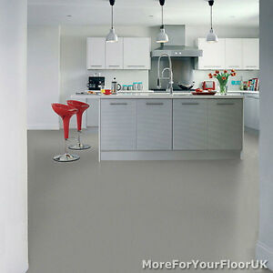 Plain Grey Vinyl Flooring 3m Wide