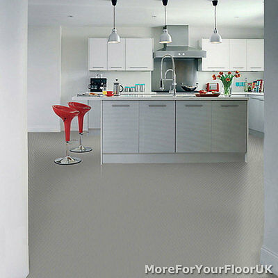 Plain Grey Vinyl Flooring - 3m Wide Anti Slip Quality Lino Cheap Kitchen