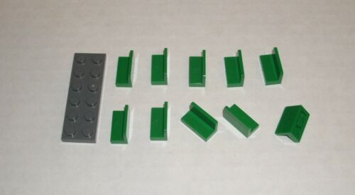 10x 4522673 Brick 4865 LEGO NEW 1x2x1 Green Panel with Rounded Corners