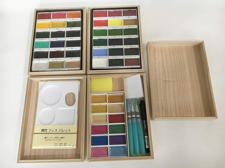 Kuretake Gansai Japanese Watercolor Paint 48 colors set w//3 brushes Box