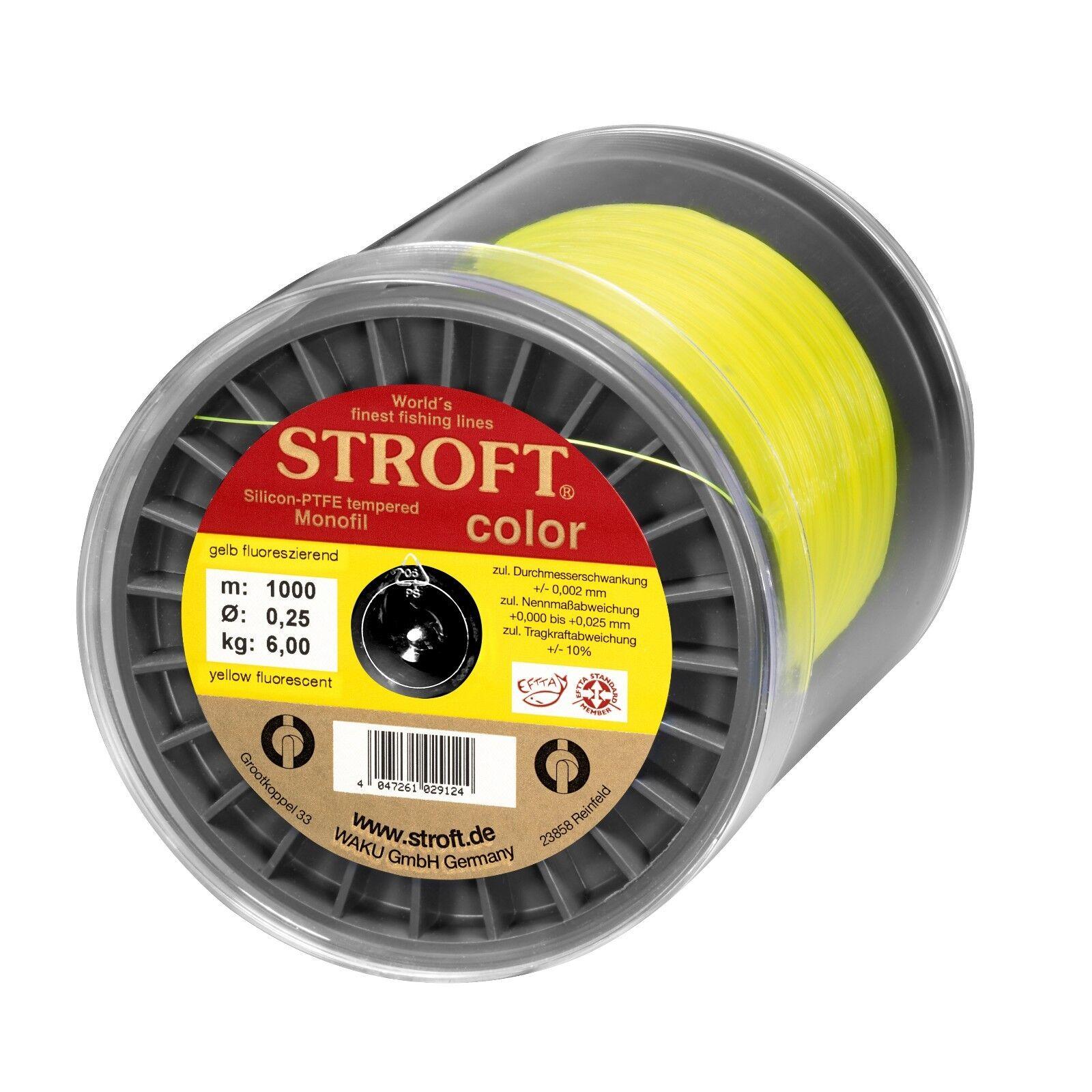 Stroft Farbe fluo gelb Monofile Angelschnur  500 m + 1000 m Spulen