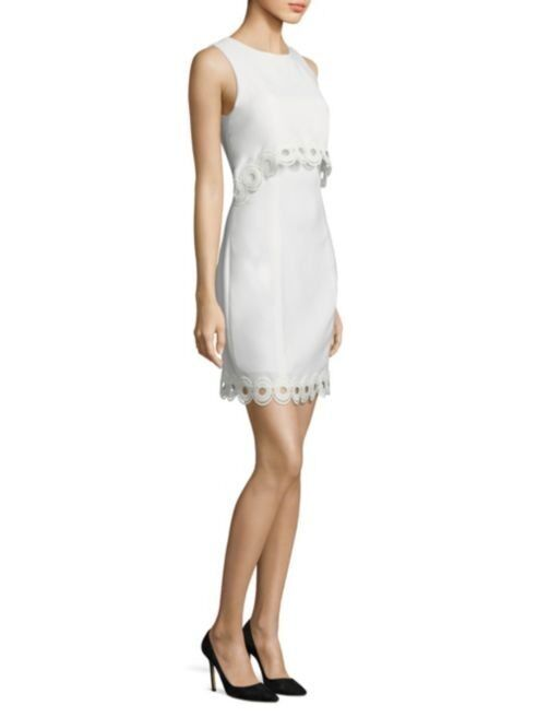 Shoshanna Optic Weiß Scalloped Lace Popover Shift Dress 10 NWT S375